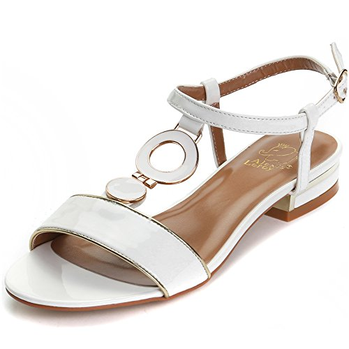 Alexis Leroy Eleganten Damen T-Spangen Sandalen mit Blockabsatz Weiß