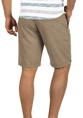 BLEND Nolito Herren Chino-Shorts kurze Hose Business-Shorts hochwertiger Leinen-Baumwollmischung Safari Brown (75115)