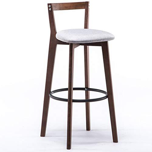 Land Frühstückstisch (ch-AIR Bar Frühstückstisch mit hoher Massivholz-Rückenlehne aus Baumwolle und Leinen, weiches Sitzkissen, stabiles Metallpedal, Mehrfarbig optional KADJ (Color : Gray, Size : Seat Height 71 cm))