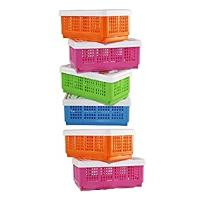 CSM Plastic Storage Basket – Set of 6(Assorted Colours, 19x11x1.5cm)