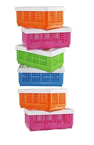 CSM Plastic Storage Basket – Set of 6(Assorted Colours, 19x11x1.5cm)