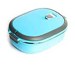 Okayji Homio Vacuum Lunch Dinner Tiffin Box For School Office 900Ml Inner Stainless Steel - Blue