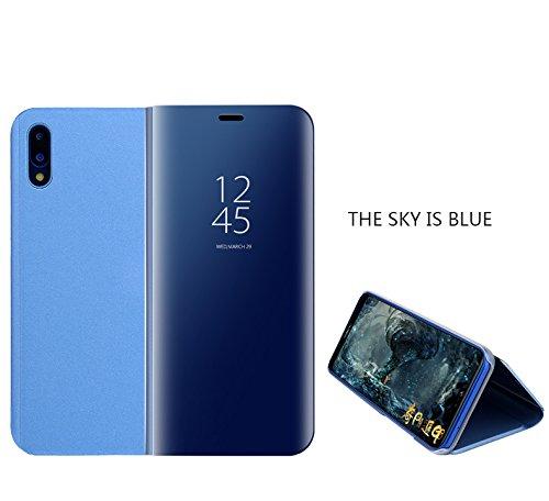 Huawei P20 Pro Spiegel-Design Case Cover,Keine Notwendigkeit, die Abdeckung umzudrehen, um Zeit / ankommende Anrufe zu visualisieren und Anrufe zu schieben; intelligente Schlaf / Weck-Funktion und verbesserte Akkulaufzeit. Überzug Spiegel Horizontale Flip Leder Tasche mit Schlaf/Wake-up-Funktion für Huawei P20 Pro (Blau) (Case Cover Spiegel)