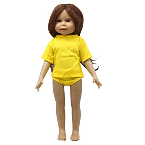 BZLine® Puppen Solid T-Shirt und Slip Set Kleidung für 18 Zoll Puppe Baby Kids Geschenke (Gelb) - Slip Puppe Kleidung