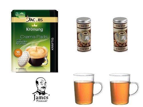 Jacobs Krönung Pads Klassisch + 2 Paddosen + 2 Kaffebecher mit Henkel