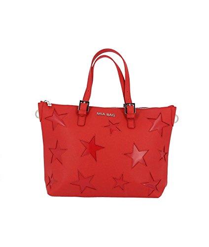 Mia Bag Borsa 18112 200 Shopping con Tracolla Leather con Intagli Stelle Rosso ss18 Uni