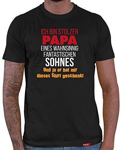 HARIZ  Herren T-Shirt Papa Collection 36 Designs Wählbar Schwarz Vatertag Weihnachten Männer Geschenk Karte Urkunde Papa33 Stolzer Papa Eines Sohnes S
