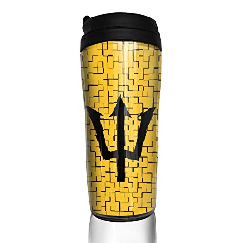 Travel Coffee Mug Barbados Flag Puzzle 12 Oz Spill Proof Flip Lid Water Bottle Environmental Protection Material ABS