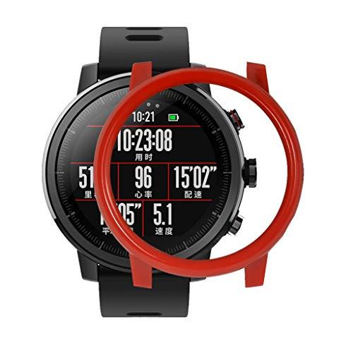 CUEYU Thin Watch Hülle Für Xiaomi Huami AMAZFIT 2/2S Stratos Watch +1PCS Displayschutzfolie Klar Displayfolie (Rot)