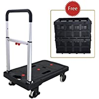 Finether Hand Trolley: Platform Truck Platform Trolley Hand Truck Trolley Folding Barrow Heavy Duty 130kg Load Capacity with 2 Collapsible Box / Adjustable Height Handle-92 /72 /82 CM 3 Years Warranty for Indoor Outdoor Travel Shopping Office Warehouse