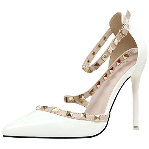 Oasap Women's Pointed Toe Rivet Ankle Strap Stiletto Sandals white