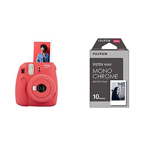 Fujifilm Instax Mini 9 - Poppy Red Appareil photo instantané Rouge & 70100137913 Instax Mini Développement instantané Monochrome