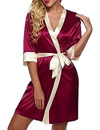 CRAVOG 2016 Mode Sexy Pyjamas Kimono Satin Robe Mini Nightwear Avec Dentelle Ceinture Femmes