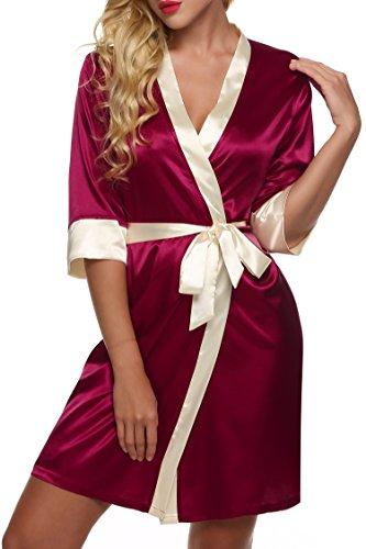 Ekouaer Kimono Robe de Chambre Femme Nuit Sexy Satin Vêtements de Nuit Taille 32-50 XS-XL Rouge (Bordeaux)