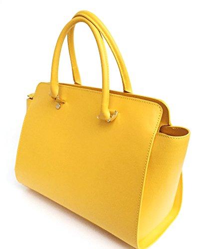 SUPERFLYBAGS Borsa in vera pelle saffiano modello Flavia Made in Italy giallo