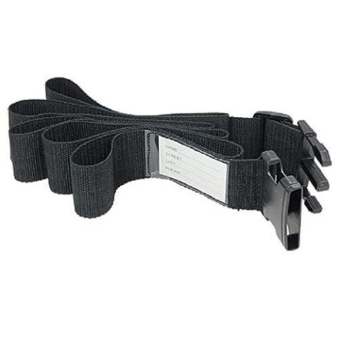 Black Travel Adjustable Luggage Strap w. Luggage ID
