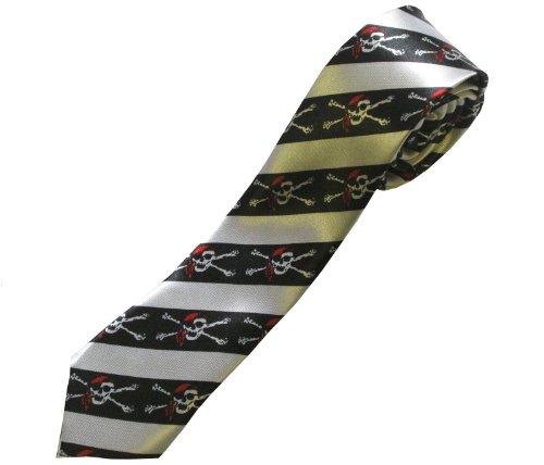 DangerousFX Schwarze (Bandana Skeletons Tie) Krawatte; Piraten Totenköpfen