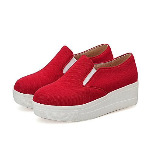 AllhqFashion Femme Couleur Unie En Tissu à Talon Bas Rond Tire Chaussures Légeres Rouge