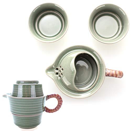 Goodwei Chinesisches Tee-Set aus Seladon-Porzellan – Reise Teeservice für Zwei Personen