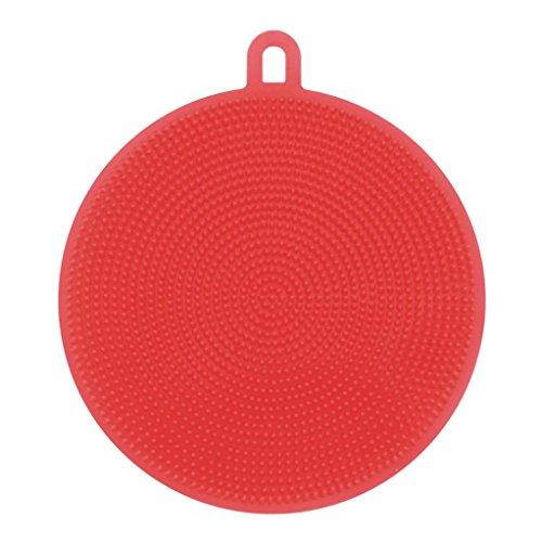 Gaddrt Haus Küche Multifunktions Silikon Geschirr Waschen Sponge Scrubber Kitchen Reinigung antibakterielle Tool (rot)