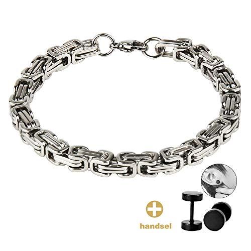 Imagen de sungpunet  pulsera de acero inoxidable para hombre, 8 mm, tono plateado