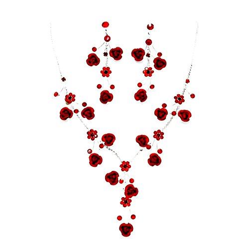 Schmuckanthony Schmuckset Silber Kette Halskette Collier Set Ohrringe Metall Rosen Rose Kristall Blumen Rosen Rot