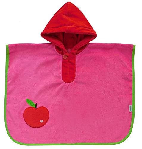 Schlummersack kuschelig weicher Badeponcho mit Kapuze Apfel in rot für Mädchen von 1-3 Jahre