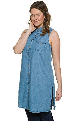 Ulla Popken Femme Grandes tailles Tunique en jeans sans manches tendance 704865 bleu clair