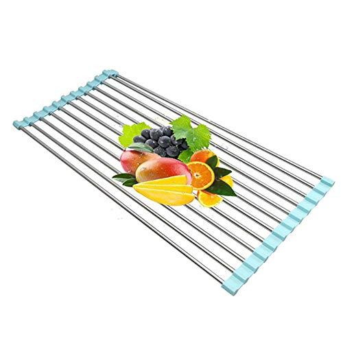 lqgpsx Kitchen Roll Up Dish Wäscheständer Faltbarer Edelstahl Über Waschbecken Obst Gemüse Abtropffläche Abtropffläche Siebe Isolierwerkzeug Aufbewahrung, Blau, 52x33cm
