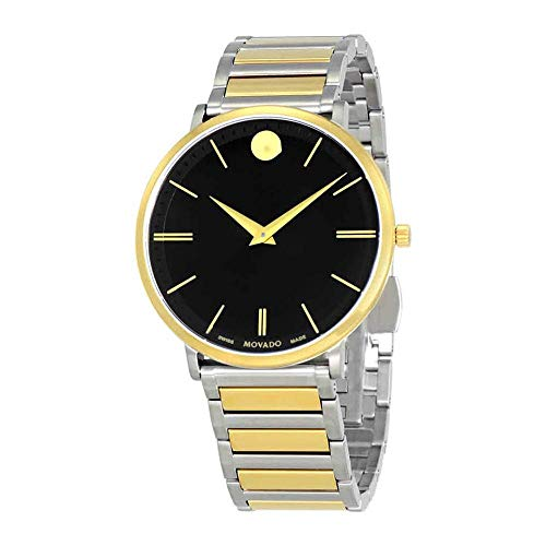 Movado Men's Ultra Slim 40mm Two Tone Steel Bracelet Steel Case Quartz Black Dial Analog Watch 607169