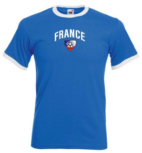 France / Frankreich Herren T-Shirt Team Retro Trikot|royal M