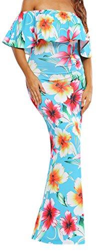 erdbeerloft - Damen Schulterfreies Slim Maxi Volant Kleid mit floralem Muster, XS-XL, Viele Farben Hellblau