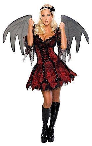 Vampir Devil Gefallener Engel Halloween + XL Schwarz Wings Kostüm Kleid Outfit - Rot, Rot, 12-14 (Demon Kleid)