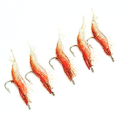 Lergo 5 Pcs Fish Bait Soft Silicone Prawn Shrimp Fishing Lure With Hook from Lergo