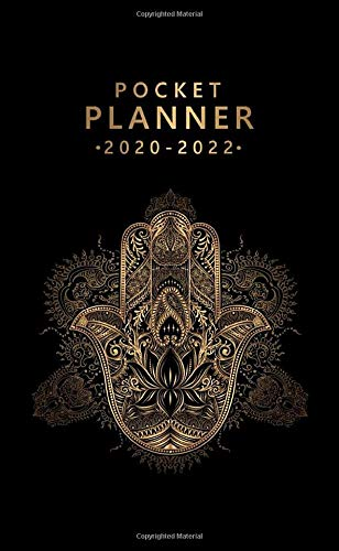 Pocket Planner 2020-2022: Pretty Hand Of Hamsa Three Year (36 Months) Agenda, Diary & Calendar with Inspirational Quotes - 3 Year Monthly Organizer with Phone Book, Password Log & Notebook