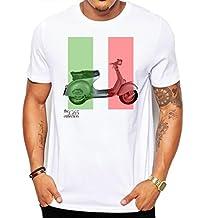 Vespa Scooter Bandera de Italia moda Hombre de calidad pesada de camiseta.