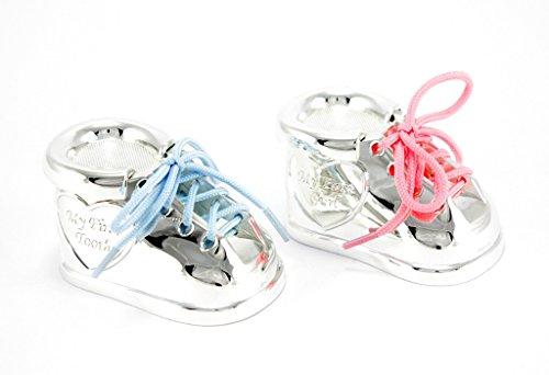 dose + Lockendose 2er Set Versilbert Junge Mädchen mit Rosa & Blauen Schnürsenkel Tauf-Geschenk Paten Geschenkidee Baby Schuh Kinder (Zahn- und Lockendose Ohne Gravur) ()
