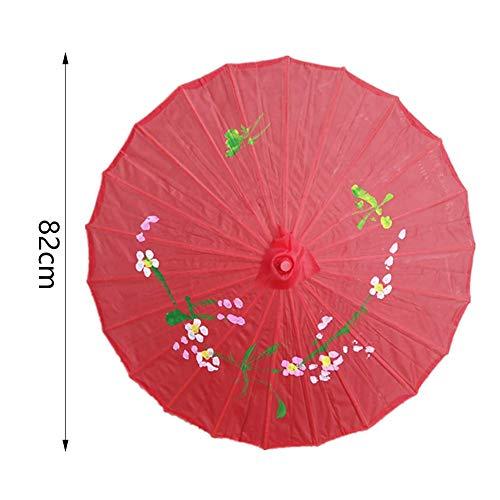 nakw88 Regenschirm Chinesisch Langlebig Kunst Dekoration Farbig Tanz Traditionell Hochzeit Sonnenschirm Tragbar Bambus Foto Requisiten Öl Papier (Pink) - Rot, Free Size