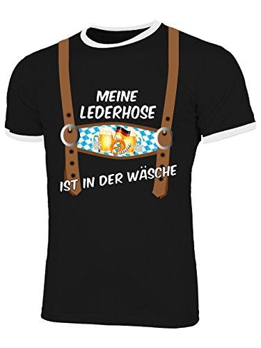 Lederhose Optik Meine Lederhoseist in der Wäsche 4403 Oktoberfest Outfit Artikel Männer verkleidung kostüm Bavaria Wiesn Tshirt Hemd Herren Ringer T Shirt - Oktoberfest Kostüm Mann