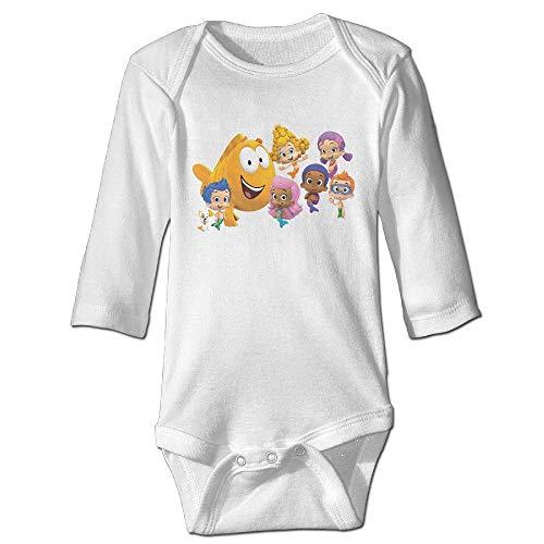 Axige888 Bubble Guppy Logo Cute Baby Neutral Long Sleeve Jumpsuit Wide Leg Pants Cotton 3M (Pants Leg Cotton Wide)