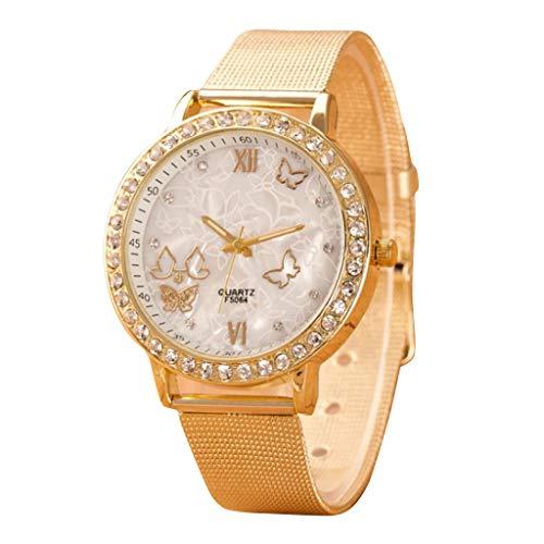 Altsommer Frauen Uhren mit Edelstahl Mesh Armband,Business Armbanduhr mit Schmetterling Muster Strass Zifferblatt Armbanduhren, Unisex Armbanduhr Damen Herren Uhr,23cm Bandlänge (A)