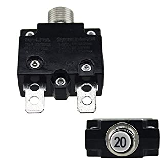 KinshopS 5A/10A/15A/20A/30A Push Button Resettable Thermal Circuit Breaker Panel Mount