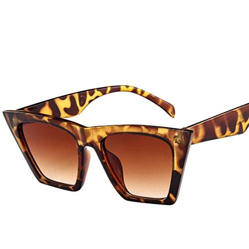 URSING Mode Damen Oversized Übergroße Sonnenbrille Vintage Retro Mode Katzenauge Brille Sonnenbrille Super Coole Damenbrillen Frauen Women Cat Eye Sunglasses Travel Eyewear (Braun)