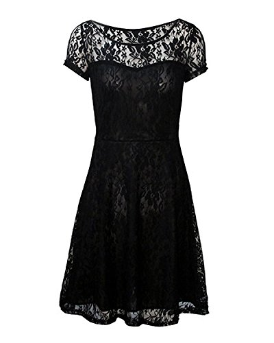 Measoul-Womens-Round-Neck-Short-Sleeve-Pleated-Lace-Mini-Party-Evening-Cocktail-Dress