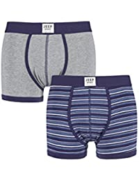Jeep Mens 2 Pack Spirit Stripe and Plain Cotton Rich Fitted Trunks