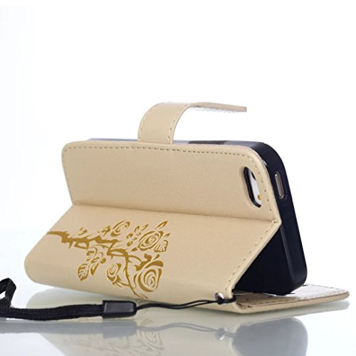 JIALUN-Telefon Fall Mit Kartensteckplatz, Lanyard, Druck Schönes Muster Mode Open Handy Shell Für IPhone 5S 5 SE ( Color : Gold , Size : IPhone 5S SE ) Gold