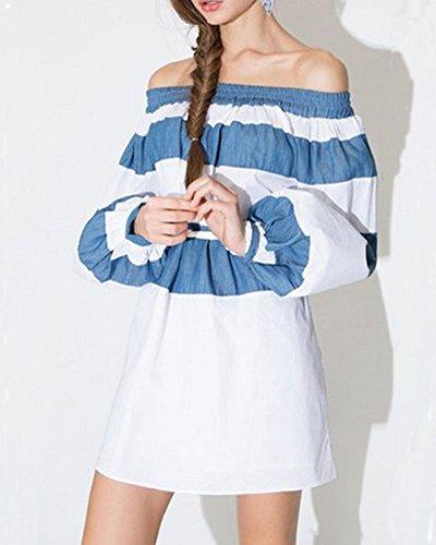 Minetom Donne Spalla Off Vestito Modello Strisce Sciolto Vestito Da Festa Cocktail Clubwear Blu