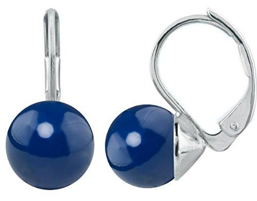 petra kupfer Damen Ohrringe Ohrhänger mit 1 runden Swarovski®-Perle 8 mm Strahlendes Blau Dark Lapis Versilbert hkp08-dark-lapis-pearl -