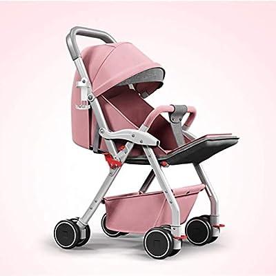 WLYL Cochecito de bebé Puede Sentarse y tumbarse Cochecito Plegable Ligero de absorción de Choque,Pink