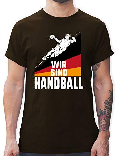 Handball WM 2019 - Wir sind Handball! Deutschland - M - Braun - L190 - Herren T-Shirt und Männer Tshirt